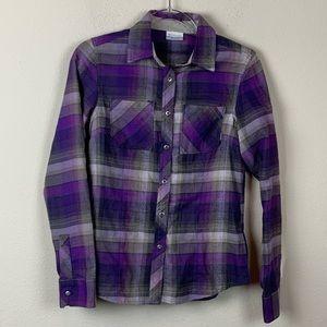 Columbia Purple Gray Plaid Long Sleeve Shirt